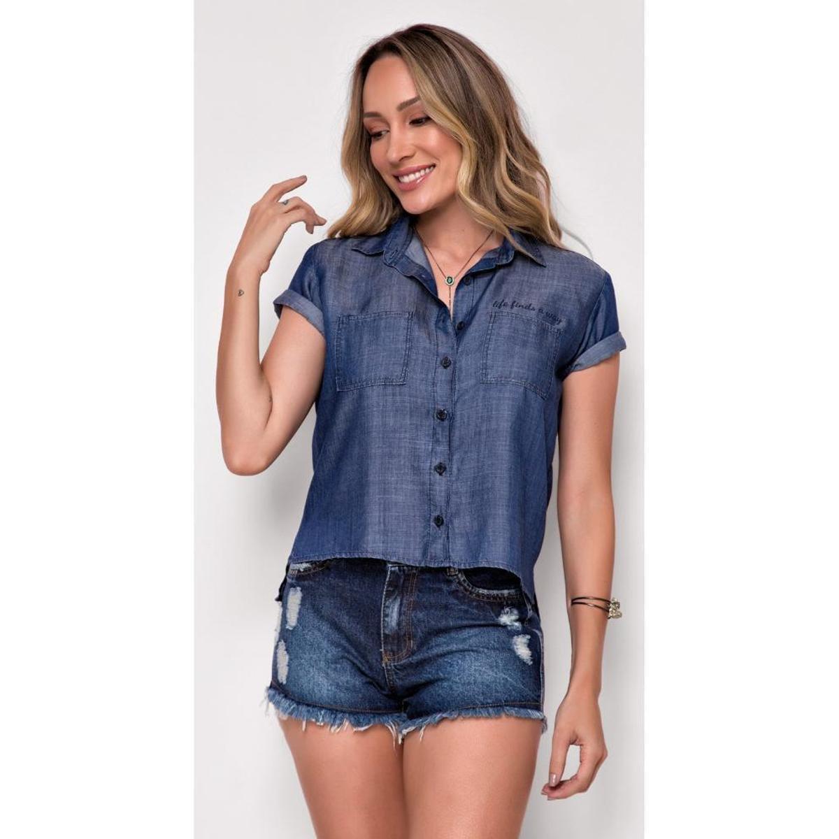 Camisa Jeans Zait Manga Curta Miss Rain com bolso frontal duplo - Azul