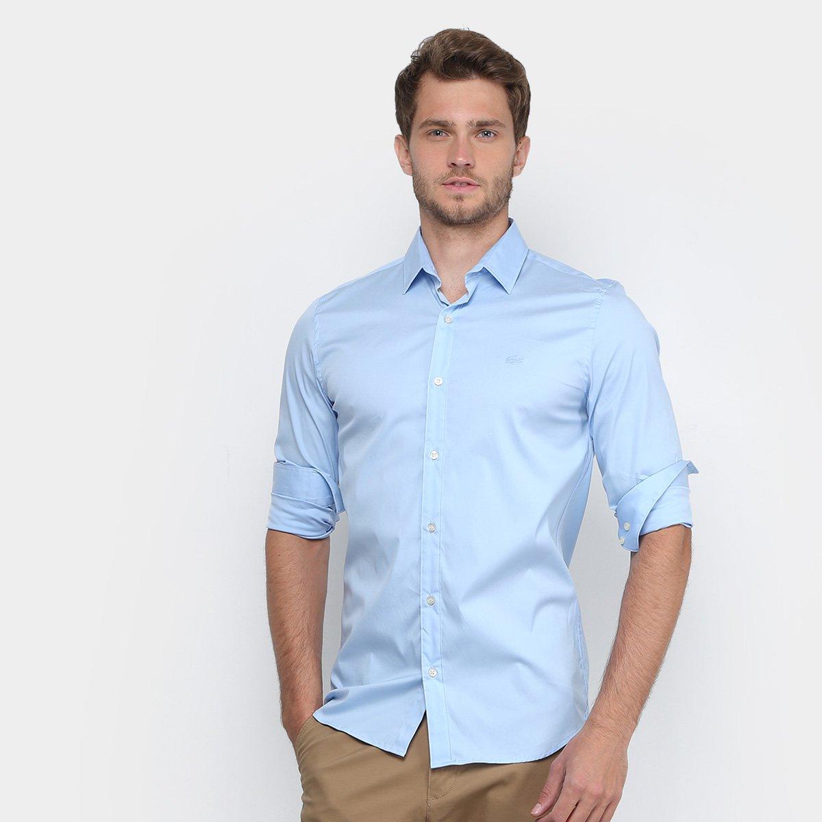 moda mejor valorada estilo de moda comprar original Camisa Lacoste Slim Fit com Logo Masculina - Azul Claro