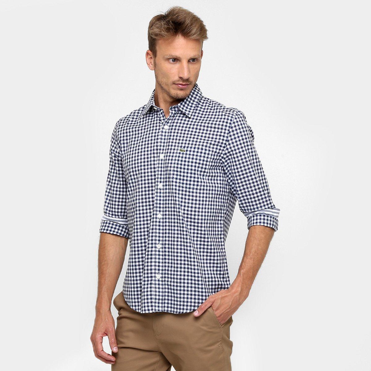 Camisa Lacoste Xadrez Regular Fit Manga Longa - Compre Agora  191ceebb560