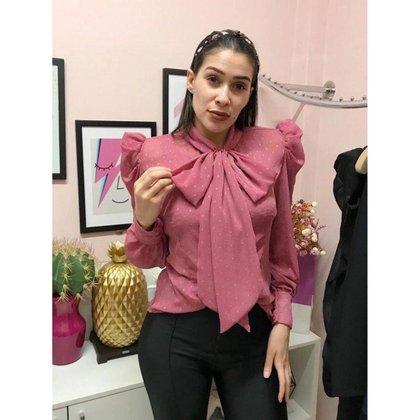 Camisa Limone com ombreira Rosa - P