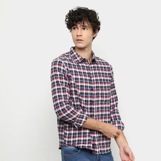 Camisa Lucky Sailing Xadrez Manga Longa Masculina