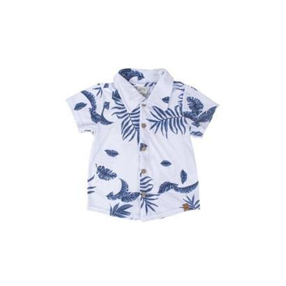 Camisa Manga Curta Bebe Estampa Tropical Lunender Unissex-Branco