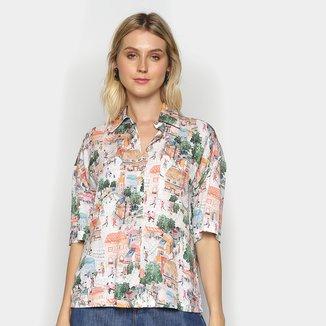 Camisa Manga Curta Colcci Estampada Feminina