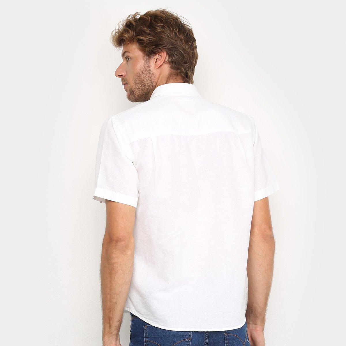 Camisa Manga Curta Ellus Linho Masculina - Branco