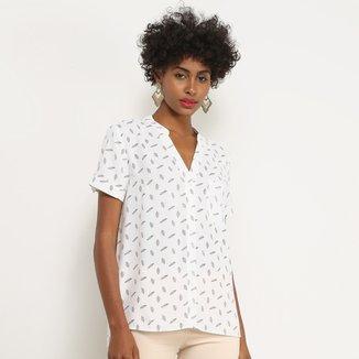 Camisa Manga Curta Facinelli Folhagem Feminina