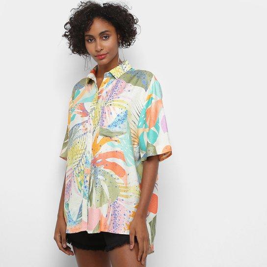 Camisa Manga Curta Farm Fenda Splash Tropical Feminina - Off White