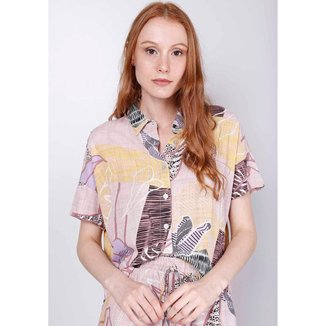 Camisa Manga Curta Folhagens