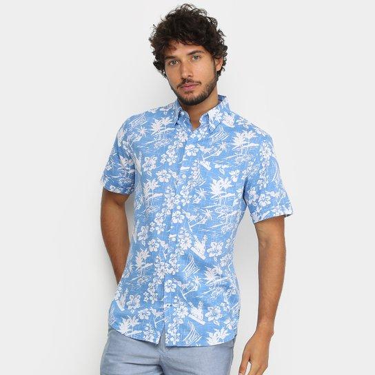 Camisa Manga Curta Izod Floral Masculina Azul Zattini