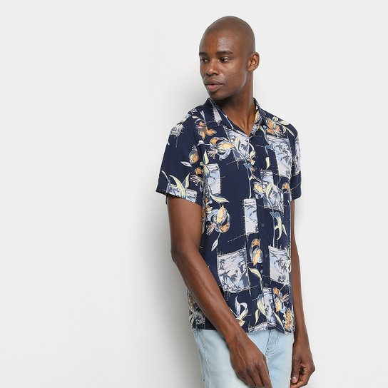 Camisa Manga Curta Pacific Blue Beach Masculina - Marinho