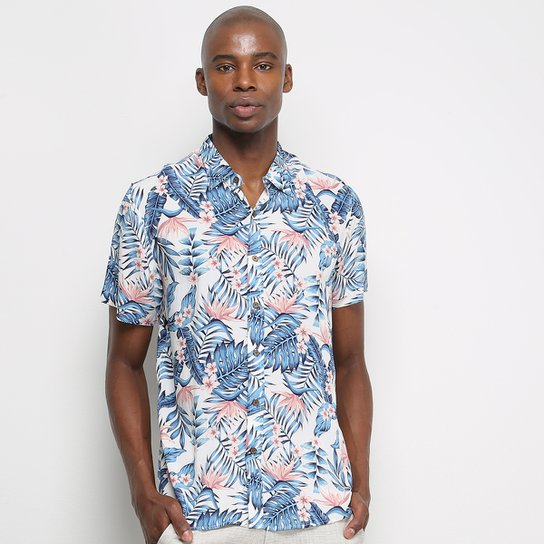 Camisa Manga Curta Pacific Blue Floral Masculina - Off White