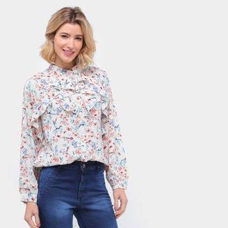 Camisa Manga Longa Ayaka Babado Floral Feminina