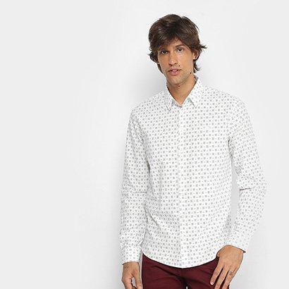 Camisa Manga Longa Colcci Slim Micro Estampa Masculina