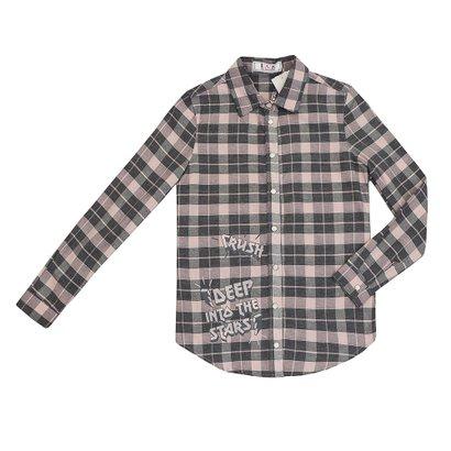 Camisa Manga Longa Infantil Xadrez Feminina