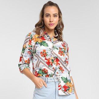 Camisa Manga Longa MS Fashion Floral Feminina
