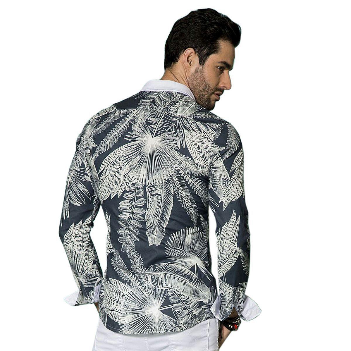 Camisa Manga Longa Pargan Folhagem Masculina - Marinho