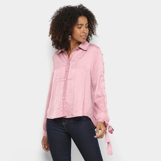 Camisa Manga Longa Road Mel Textura Laços Feminina