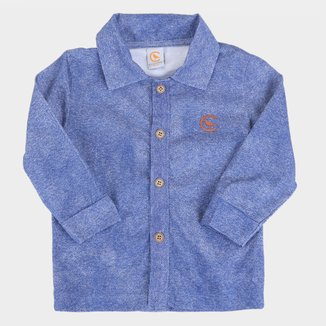 Camisa Manga Longa Xadrez Bebê Costão Básica Masculina