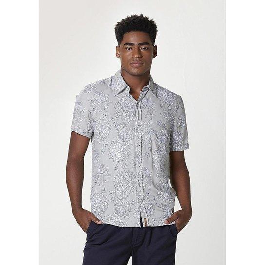 Camisa Masculina Comfort Em Viscose Estampada - Cinza