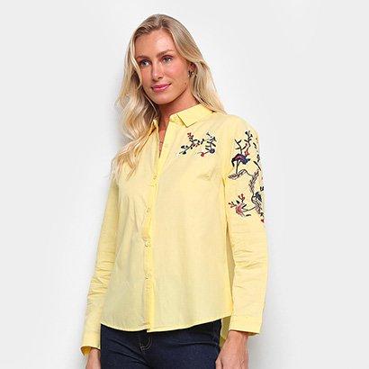 Camisa MI Manga Longa Bordada Feminina Feminino-Amarelo