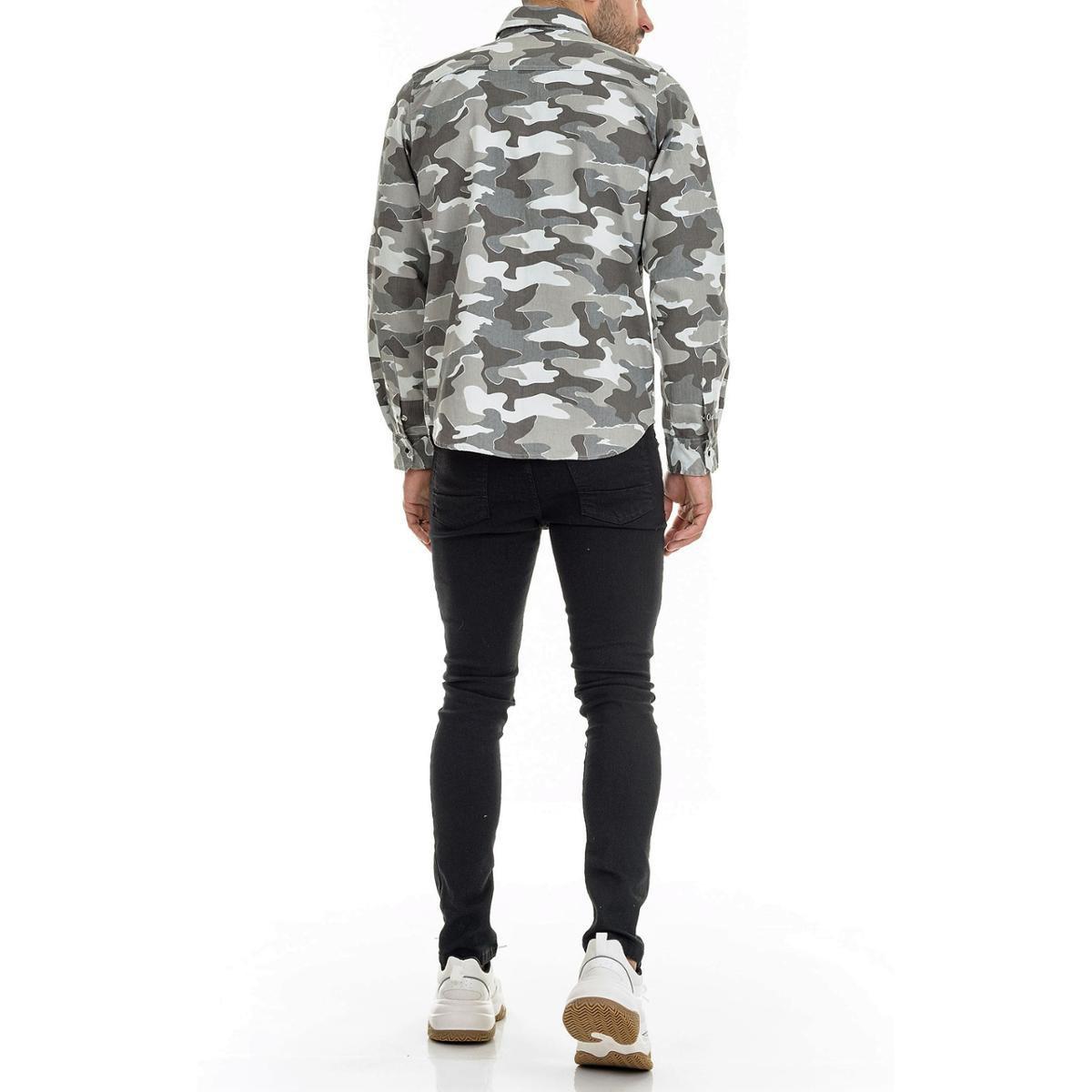 Camisa Offert Camuflado Urbano Premium Slim Fit Masculina - Cinza