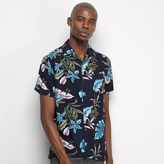 Camisa Pacific Blue Folhas Masculina