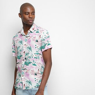 Camisa Pacific Blue Tropical Masculina