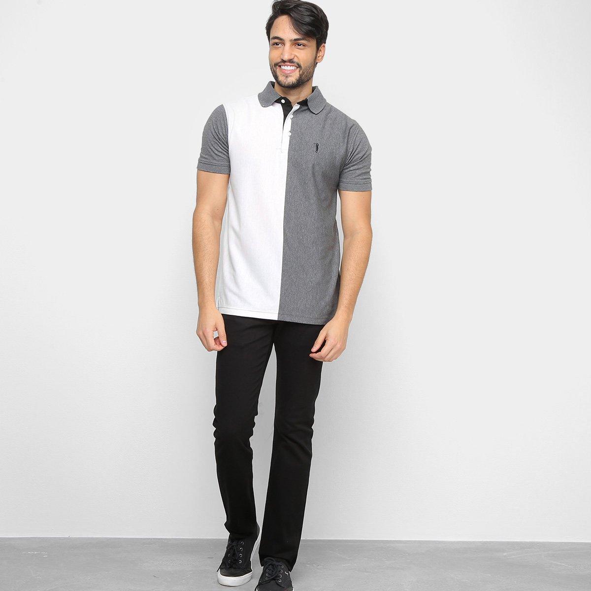 Camisa Polo Aleatory Bicolor Fio Tinto Masculina - Branco e Cinza