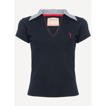 Camisa Polo Aleatory Feminina Piquet Decote V