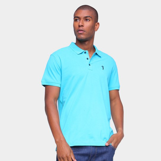 Camisa Polo Aleatory Lisa Masculina - Azul Turquesa