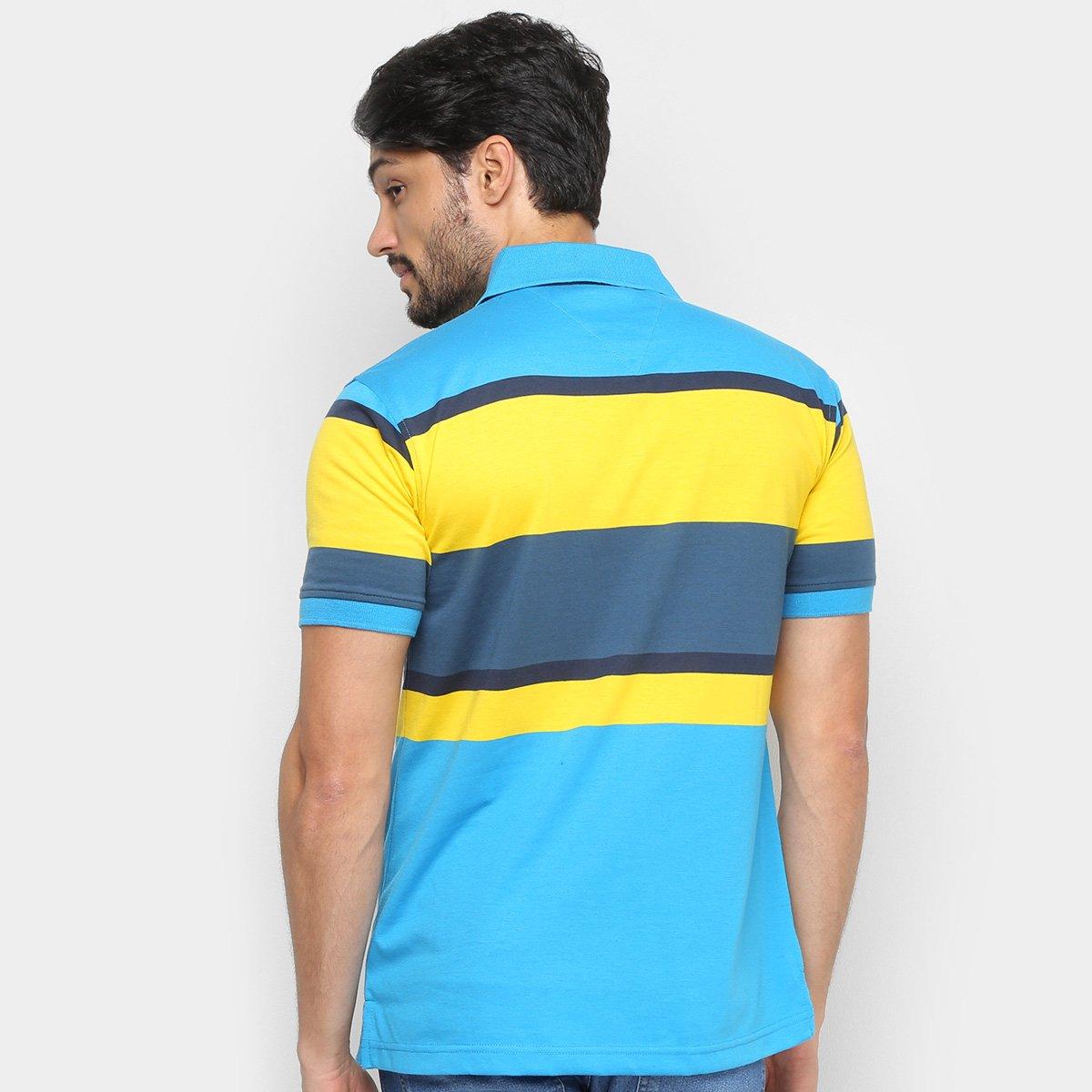 Camisa Polo Aleatory Listrada Botões Masculina - Azul e amarelo
