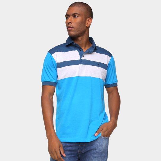 Camisa Polo Aleatory Listrada Masculina - Azul+Branco