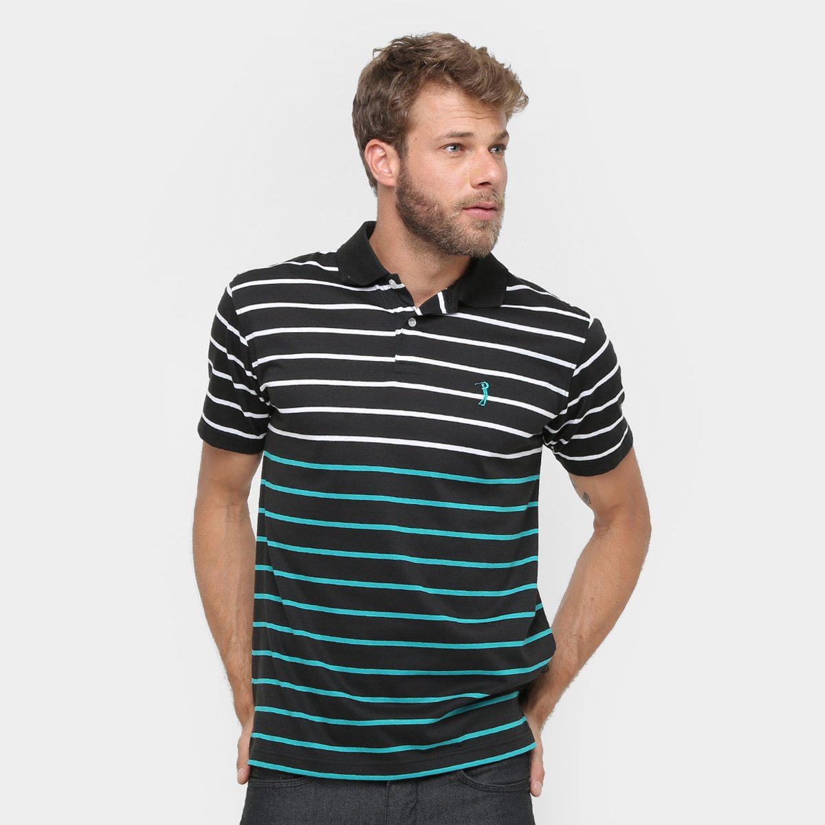 Camisa Polo Aleatory Malha Fio Tinto Listras Masculina - Compre ... 632c6a7129d67