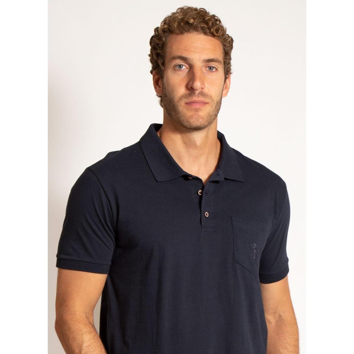 Camisa Polo Aleatory Malha Lisa Bolso Masculino - Marinho