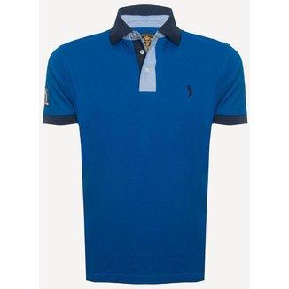 Camisa Polo Aleatory Peitilho Contraste Lisa Masculina