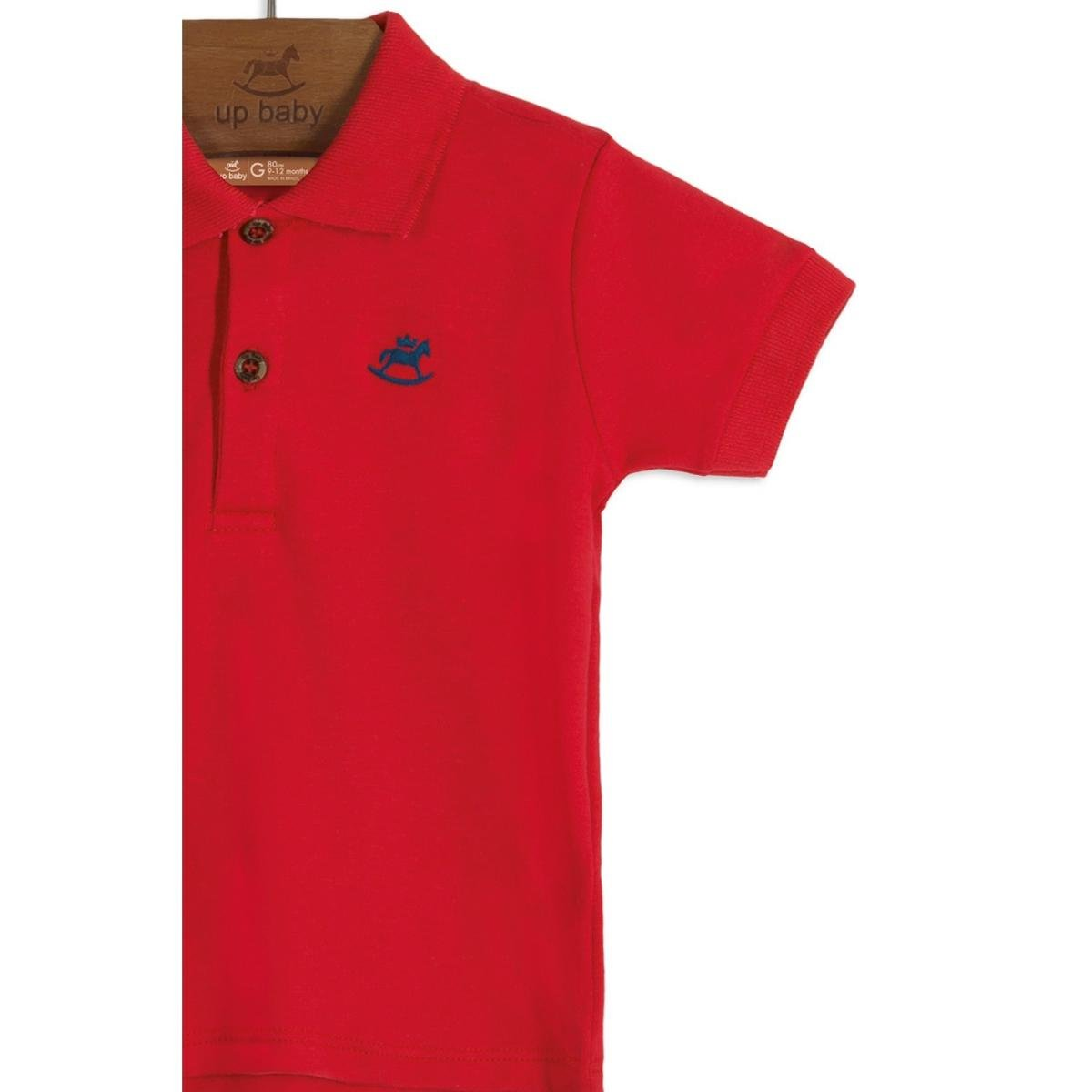 Camisa Polo Bebê Algodão Up Baby Masculino - Vermelho