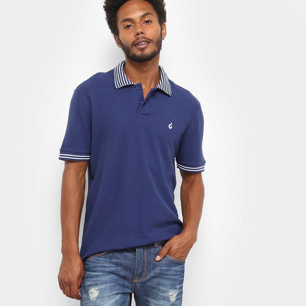 4349c8c1d6 Camisa Polo Burn Striped Masculina - Marinho - Compre Agora