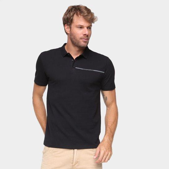 Camisa Polo Calvin Klein Com Botões Masculina - Preto