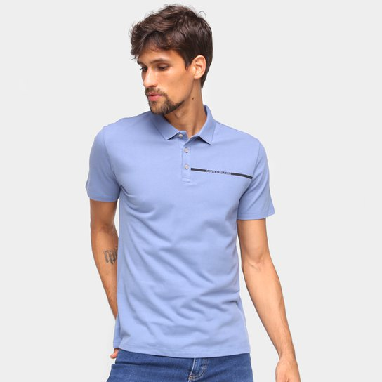 Camisa Polo Calvin Klein Com Botões Masculina - Azul