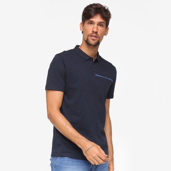 Camisa Polo Calvin Klein Com Botões Masculina - Marinho
