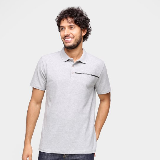 Camisa Polo Calvin Klein Com Botões Masculina - Mescla