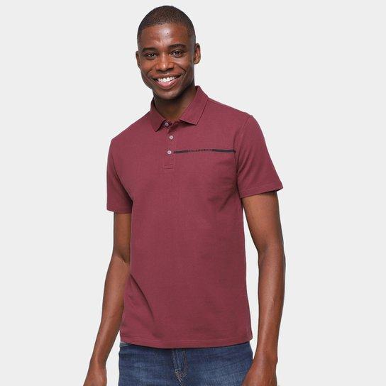Camisa Polo Calvin Klein Com Botões Masculina - Bordô