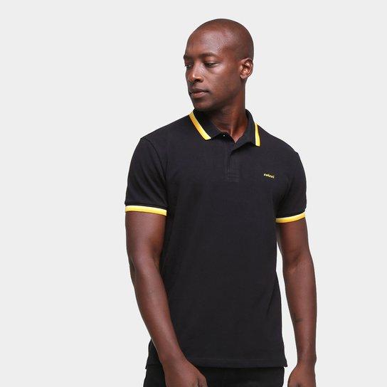 Camisa Polo Colcci Bicolor Manga Curta Masculina - Preto