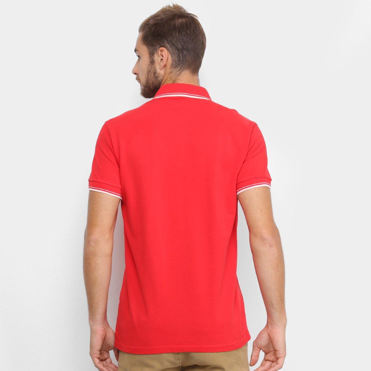 Camisa Polo Colcci Frisos Masculina - Vermelho