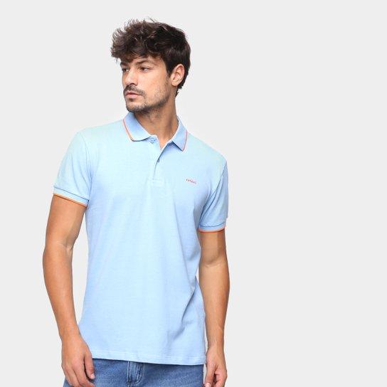 Camisa Polo Colcci Lisa Manga Bicolor Masculina - Azul+Branco