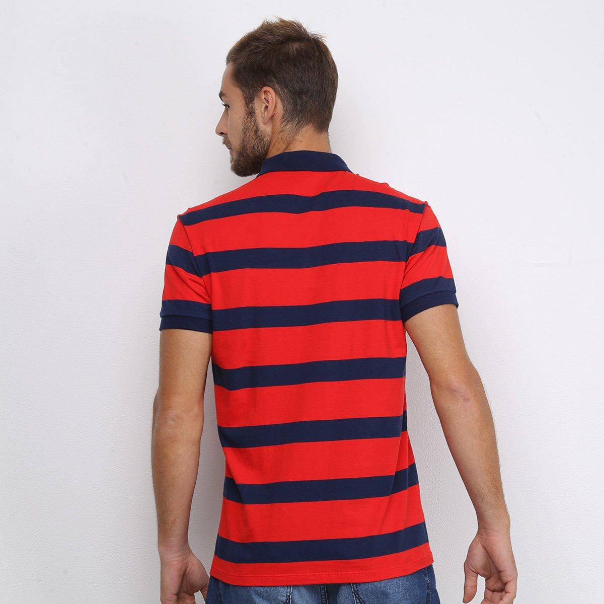 Camisa Polo Colcci Listrada Masculina - Vermelho e Marinho