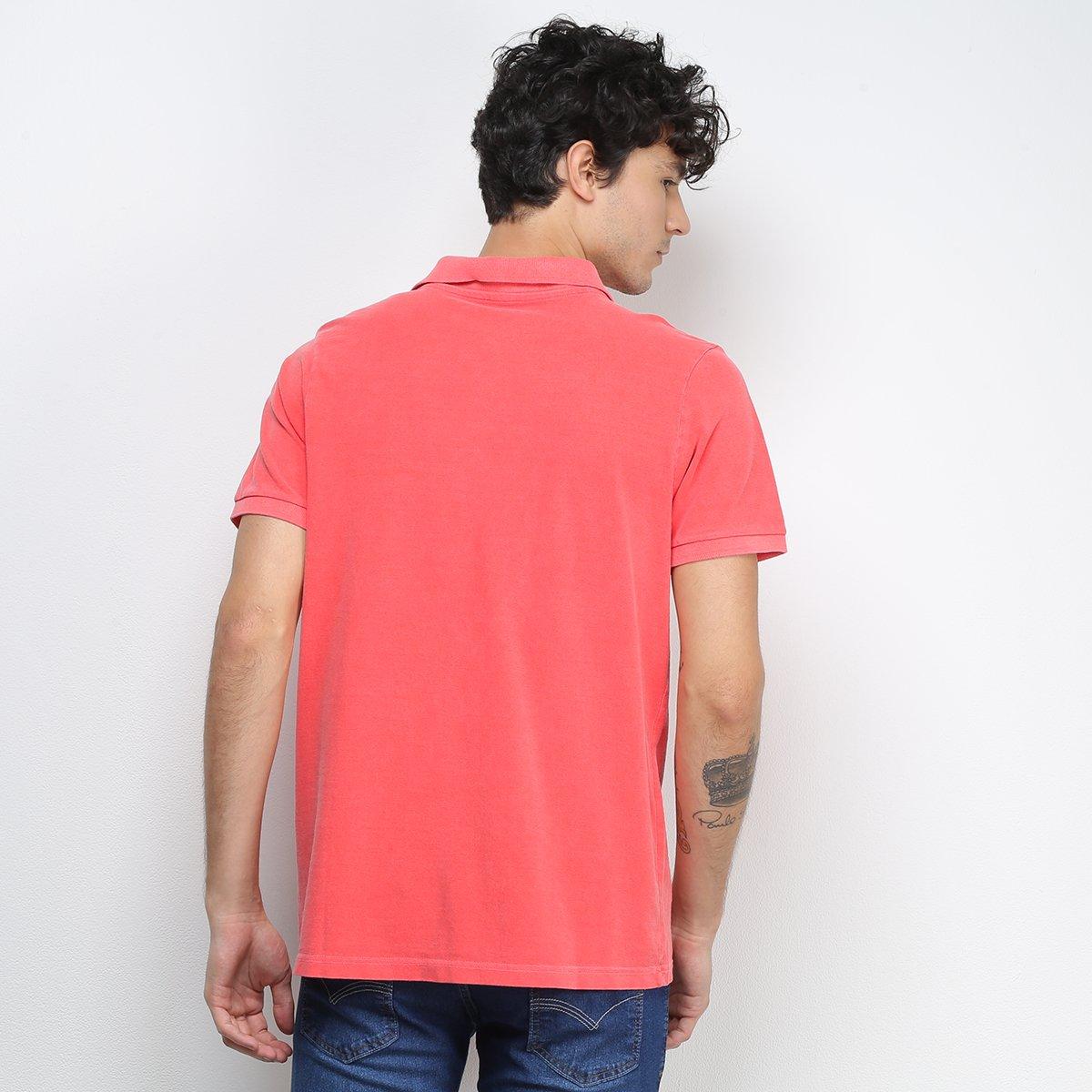 Camisa Polo Derek Ho Tinturada Piquet Básica Masculina - Vermelho