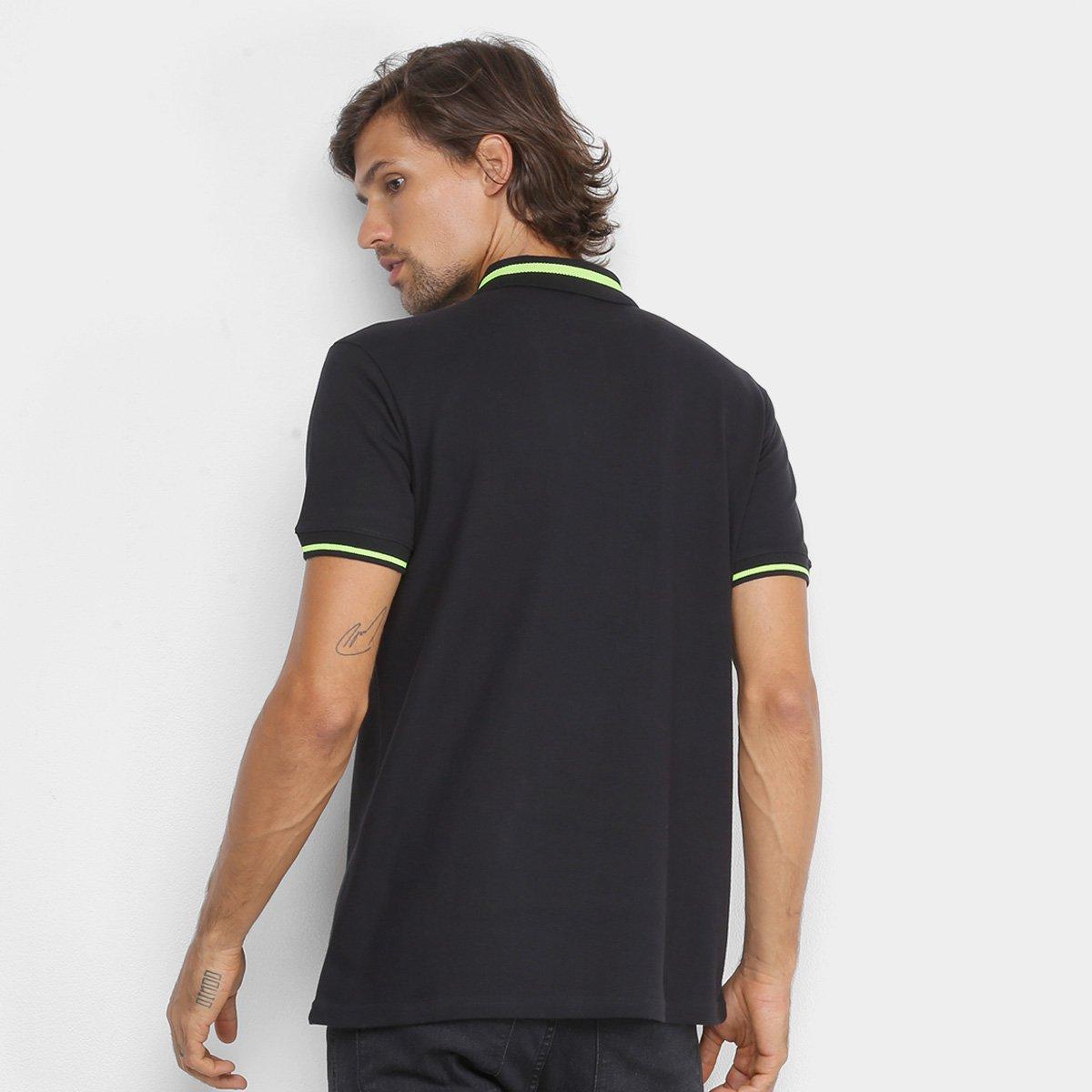 Camisa Polo Ellus Piquet Stripes Masculina - Preto