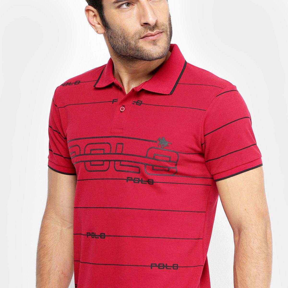 17903513c2 Camisa Polo em Piquet Estampada Polo RG 518 Manga Curta Masculina ...