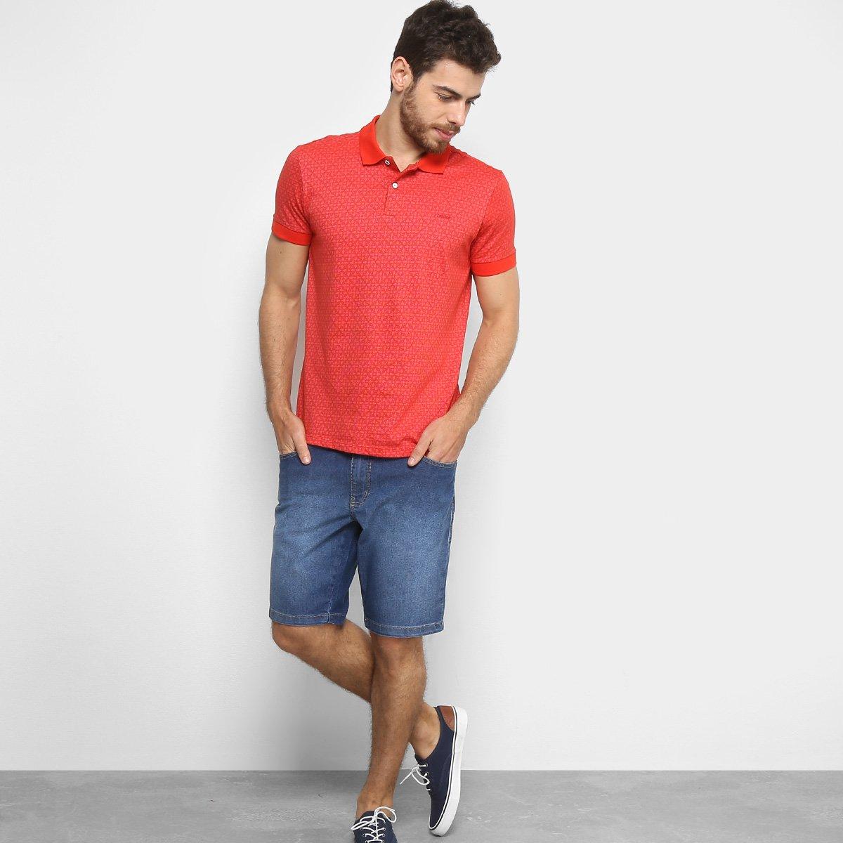 Camisa Polo Estampada Colcci Manga Curta Masculina - Vermelho ... 8bb01e009bc1e