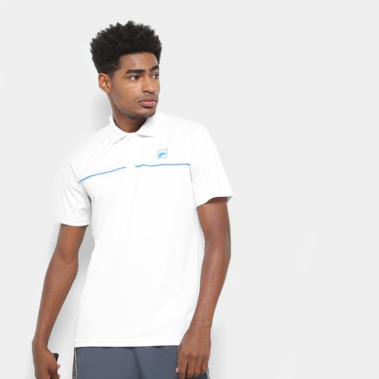 Camisa Polo Fila Square Masculina - Branco+Azul